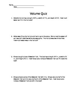 Volume Word Problem Quiz- Word Document | Words, Other and Student