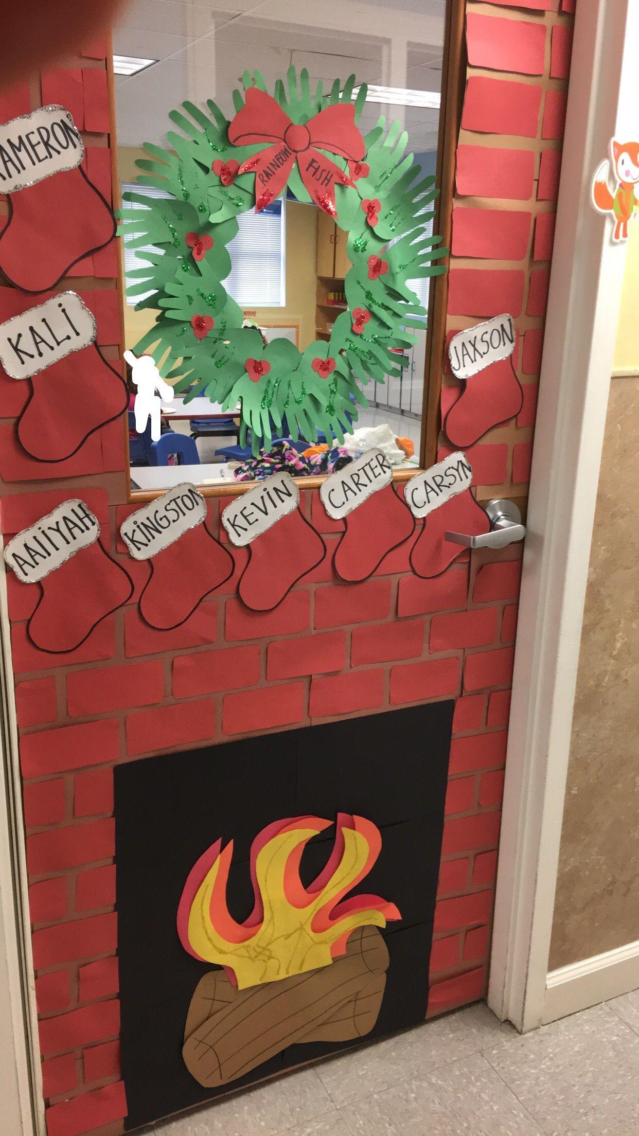 Fireplace And Stockings For Christmas Door Contest Door