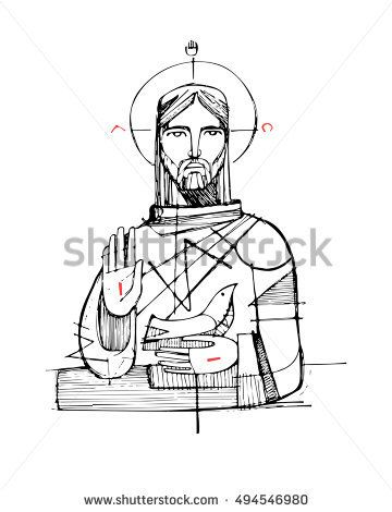 Hand drawn vector illustration or drawing of Jesus Christ and religious symbols