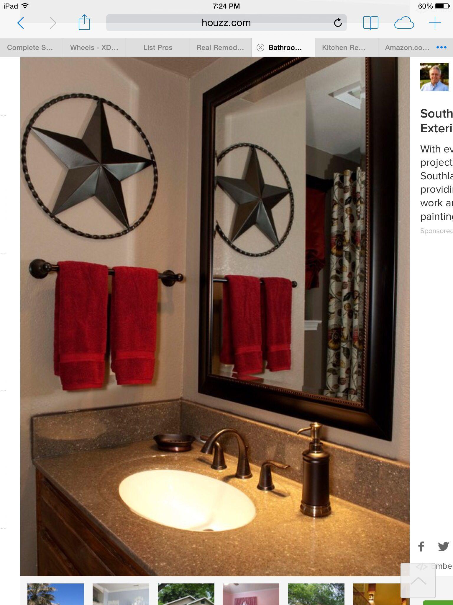 Texas Bathroom Decor 8 in 8  Bathroom red, Texas home decor