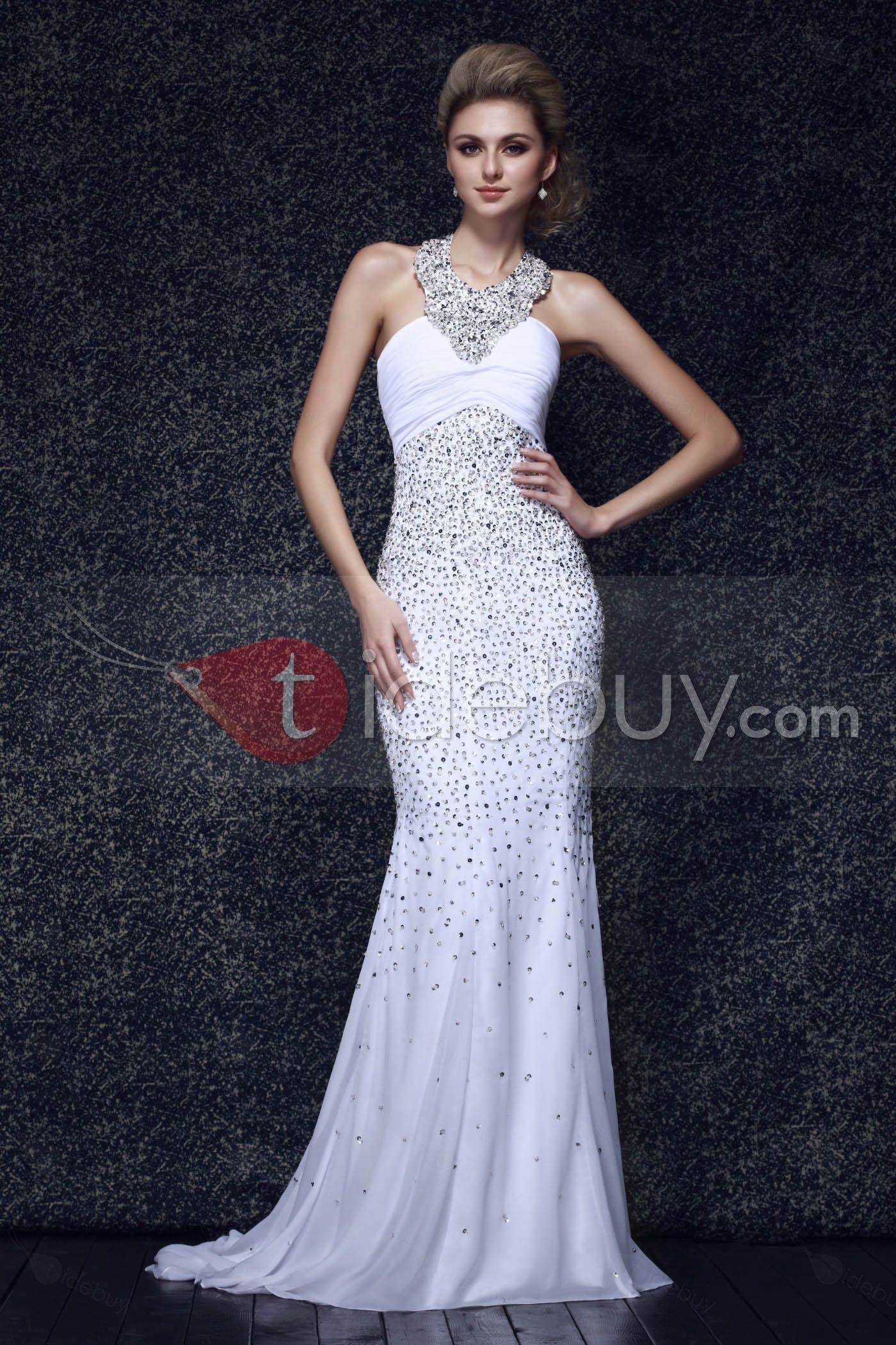 Elegant Beaded Sequins Floor-Length Mermaid Halter Dasha's Evening Dress : Tidebuy.com