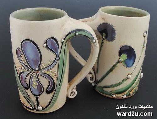 زخارف نباتية خزفيات رائعة للفنانة Carol Long الصفحة 3 Pottery Pottery Cups Pottery Mugs