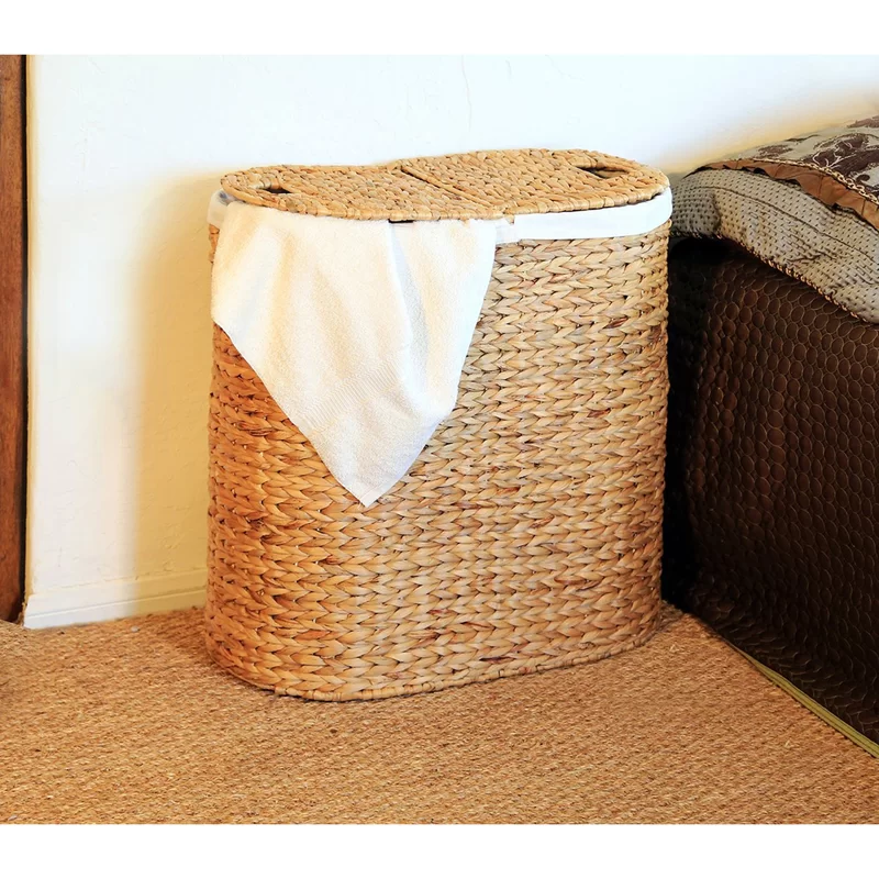 Oval Double Wicker Laundry Hamper In 2020 Wicker Laundry Hamper