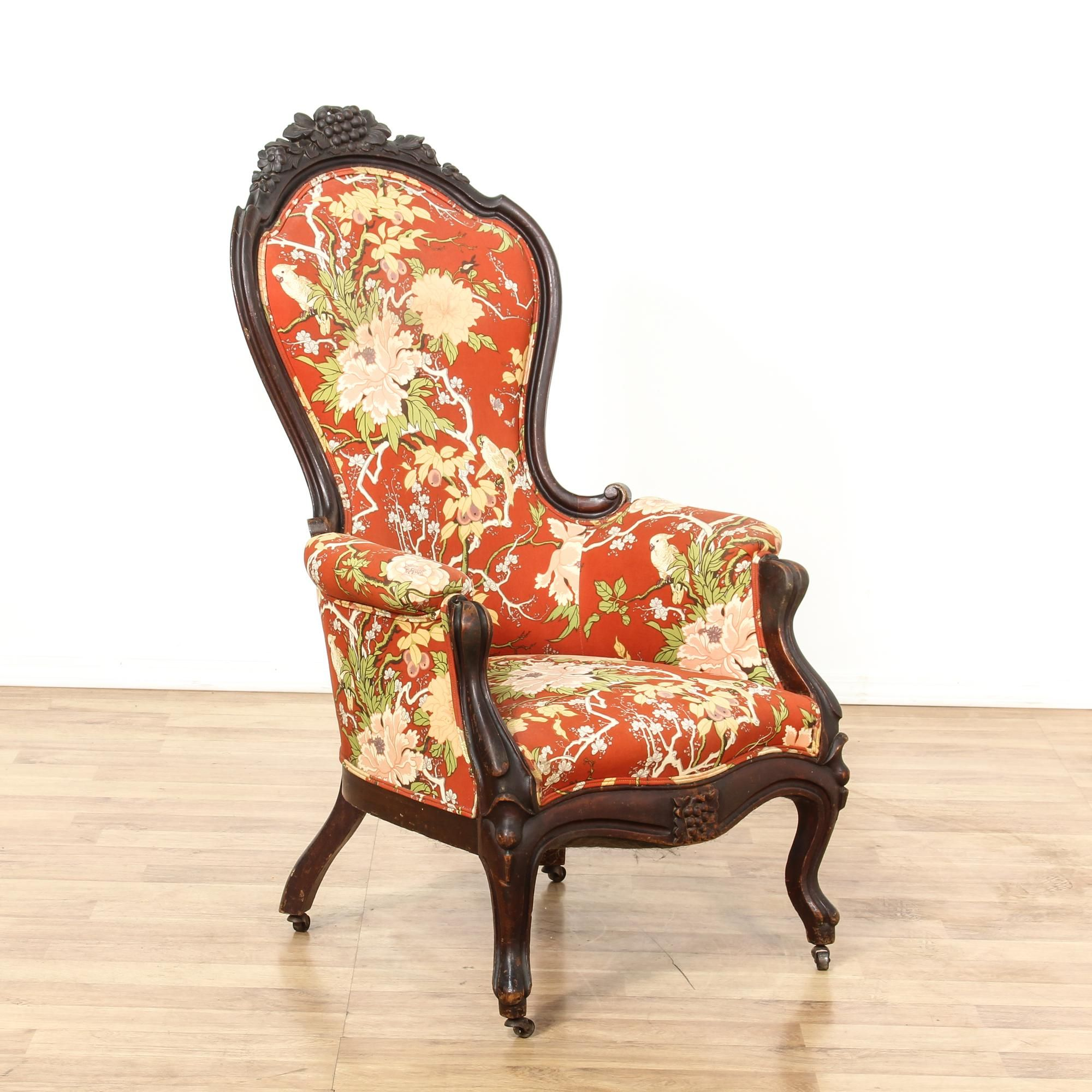 Eyes · Red Floral Upholstered Carved Victorian Side Chair | Loveseat Vintage  Furniture San Diego U0026 Los Angeles