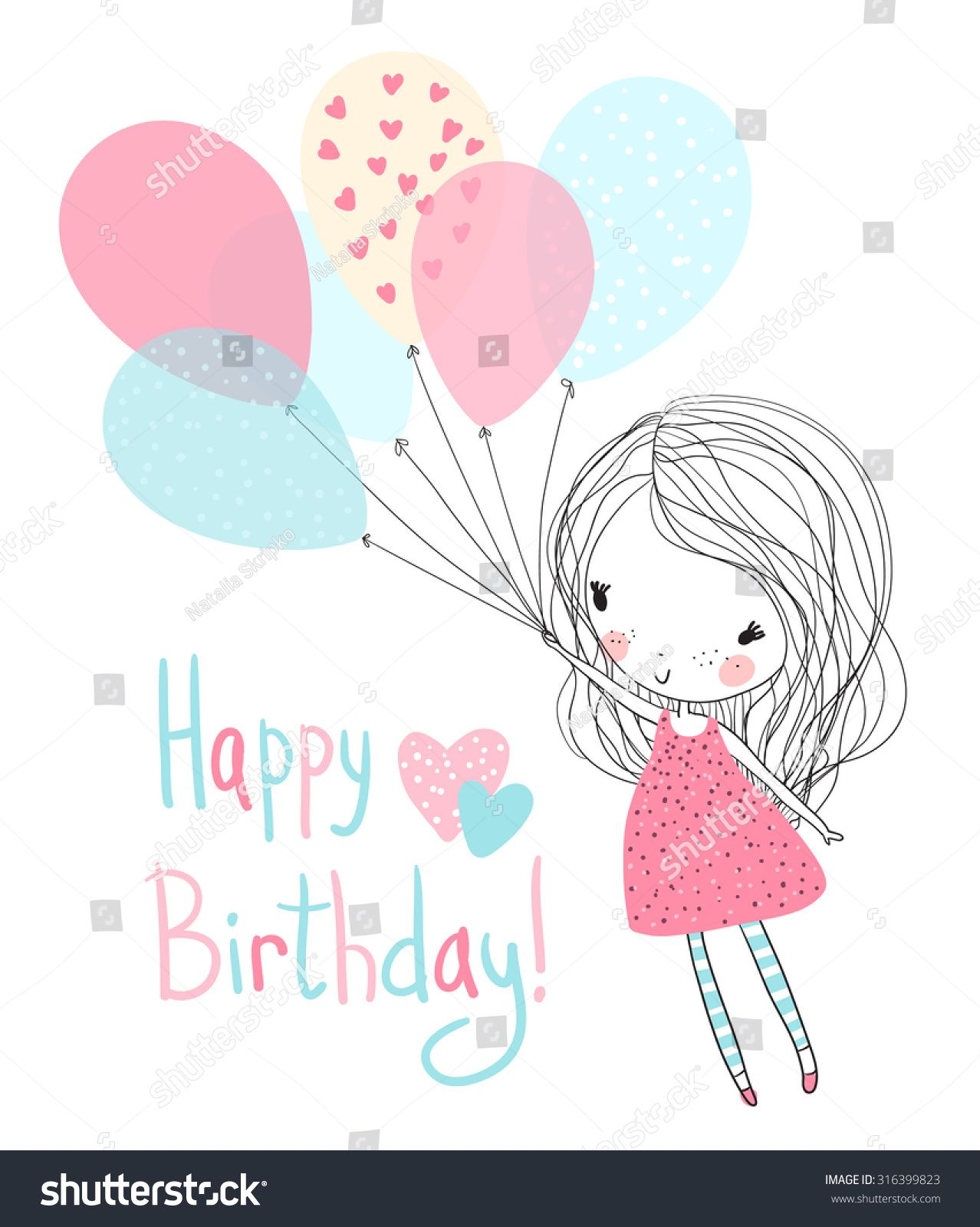 Illustration Of A Girl Holding Birthday Balloons Imagens De