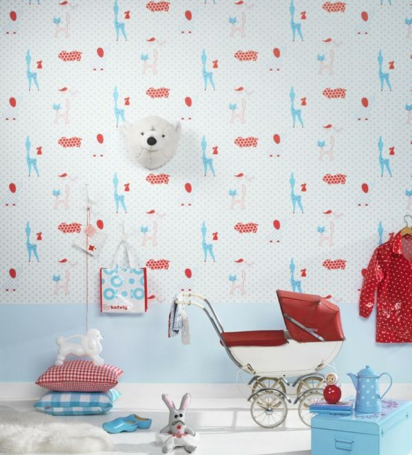 Kinderzimmer blau rote muster tapete tapeten f rs for Rote tapete