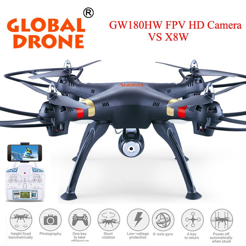 Global Drone GW180 Professional Quadcopter RC Height Hold Mode Can Come With 20MP Camera