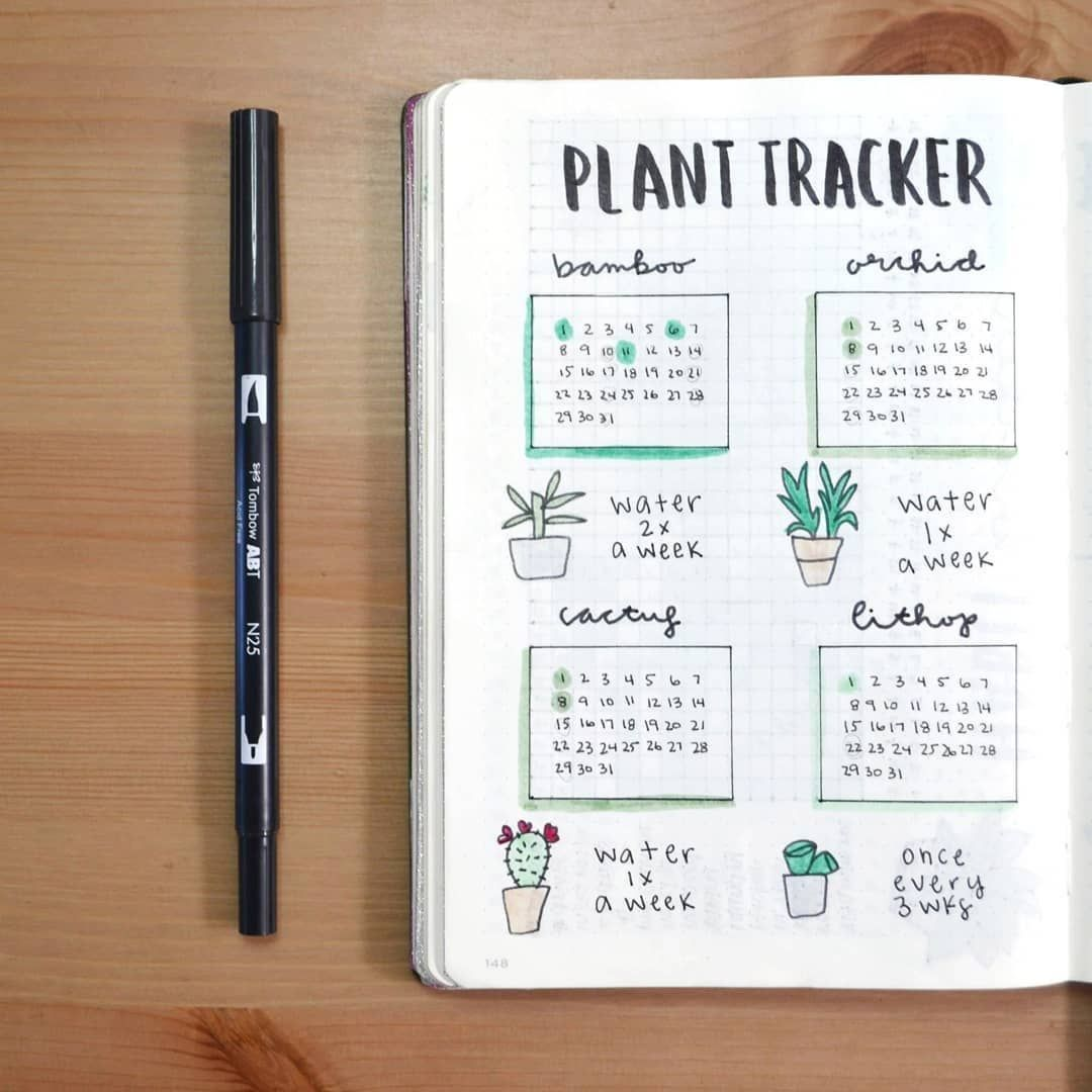 "Bullet Journal Inspo Daily on Instagram: ""Do you struggle to keep plants alive? Or are you a plant whisperer? . We adore this plant watering tracker by @lyrasbujo. . A similar idea…"""