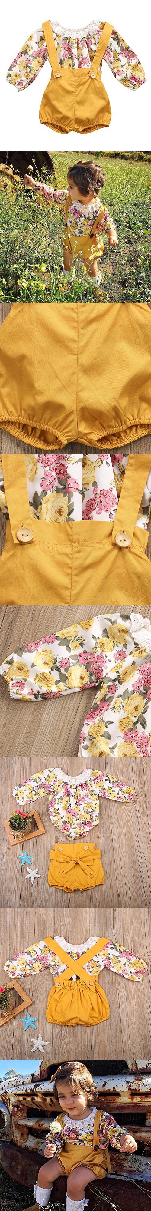 a4e261ccf7d1 GRNSHTS Baby Girls Floral Suspenders Pant Set Long Sleeve Romper + Short  Overalls (90