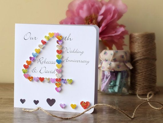 4th Wedding Anniversary Card Handmade Personalised Our 4th Etsy Anniversary Cards Handmade Wedding Anniversary Cards 4th Wedding Anniversary