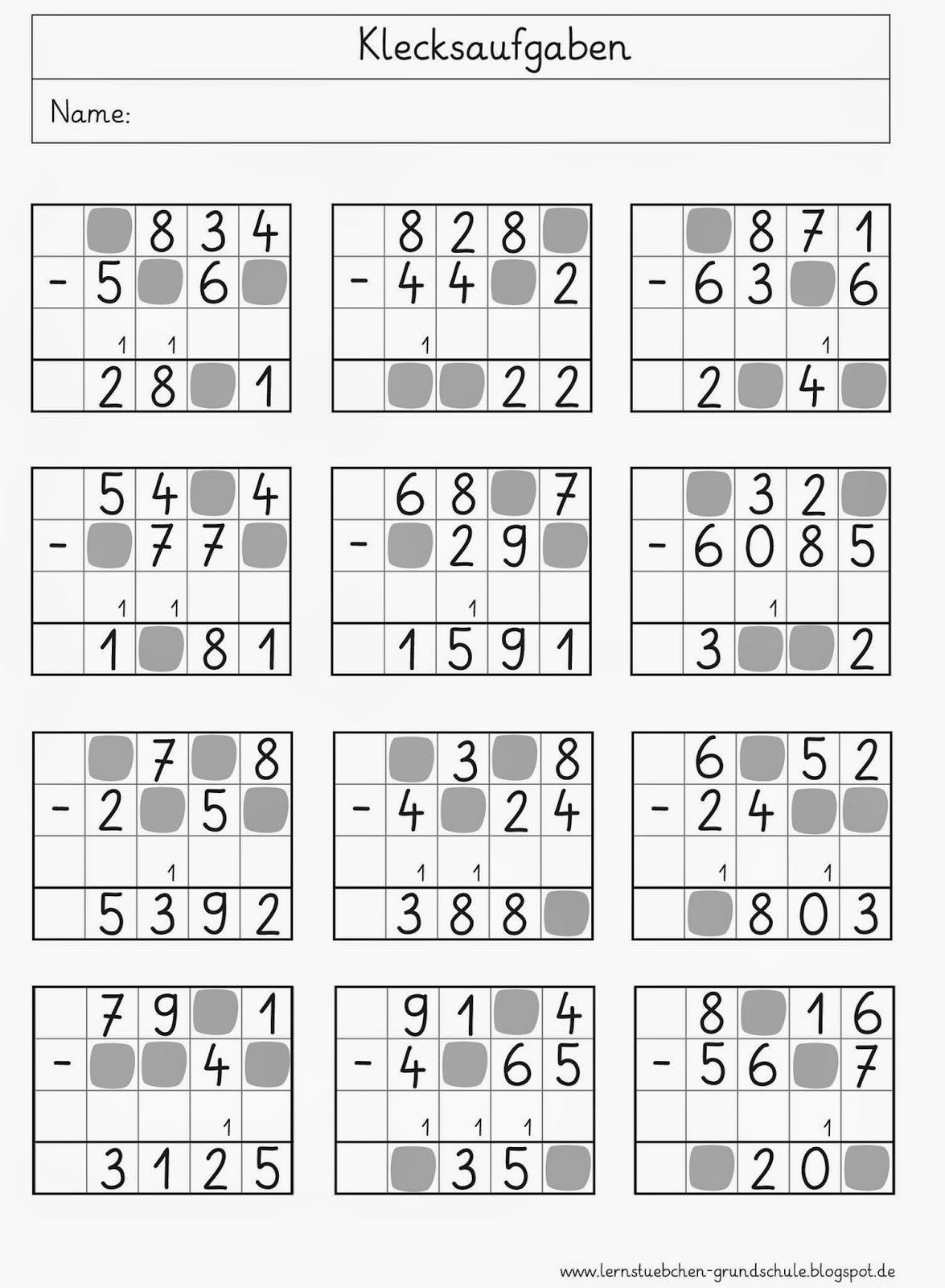 Lernstübchen: Klecksaufgaben | nyomtatható matek | Pinterest | Math ...