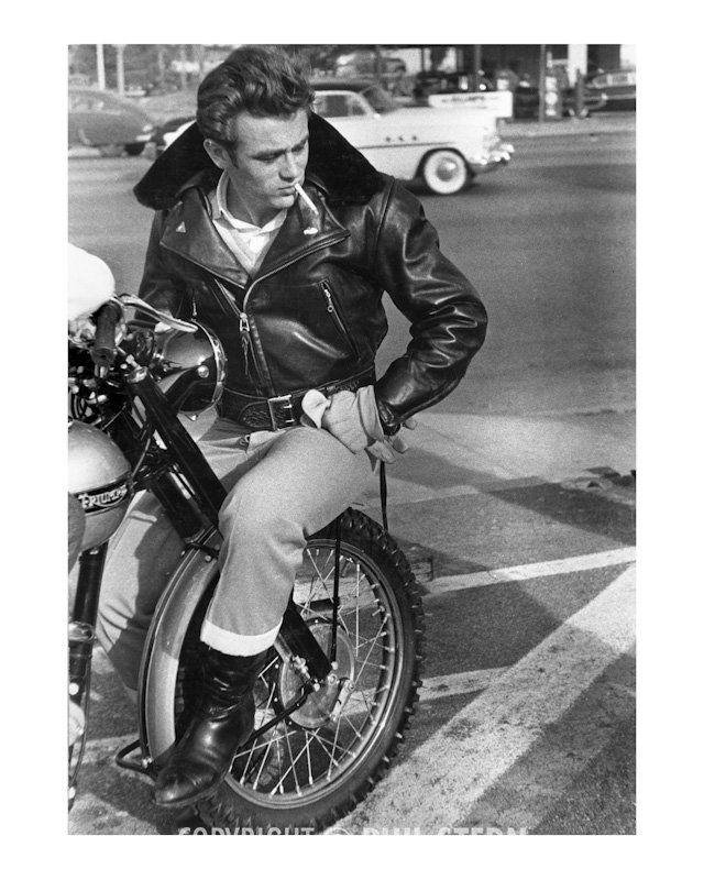 d3483dabc 1955 James Dean Vintage Black & White Triumph Motorcycle... Leather Jacket  & A Smoke! Photo Phil Stern Archives.