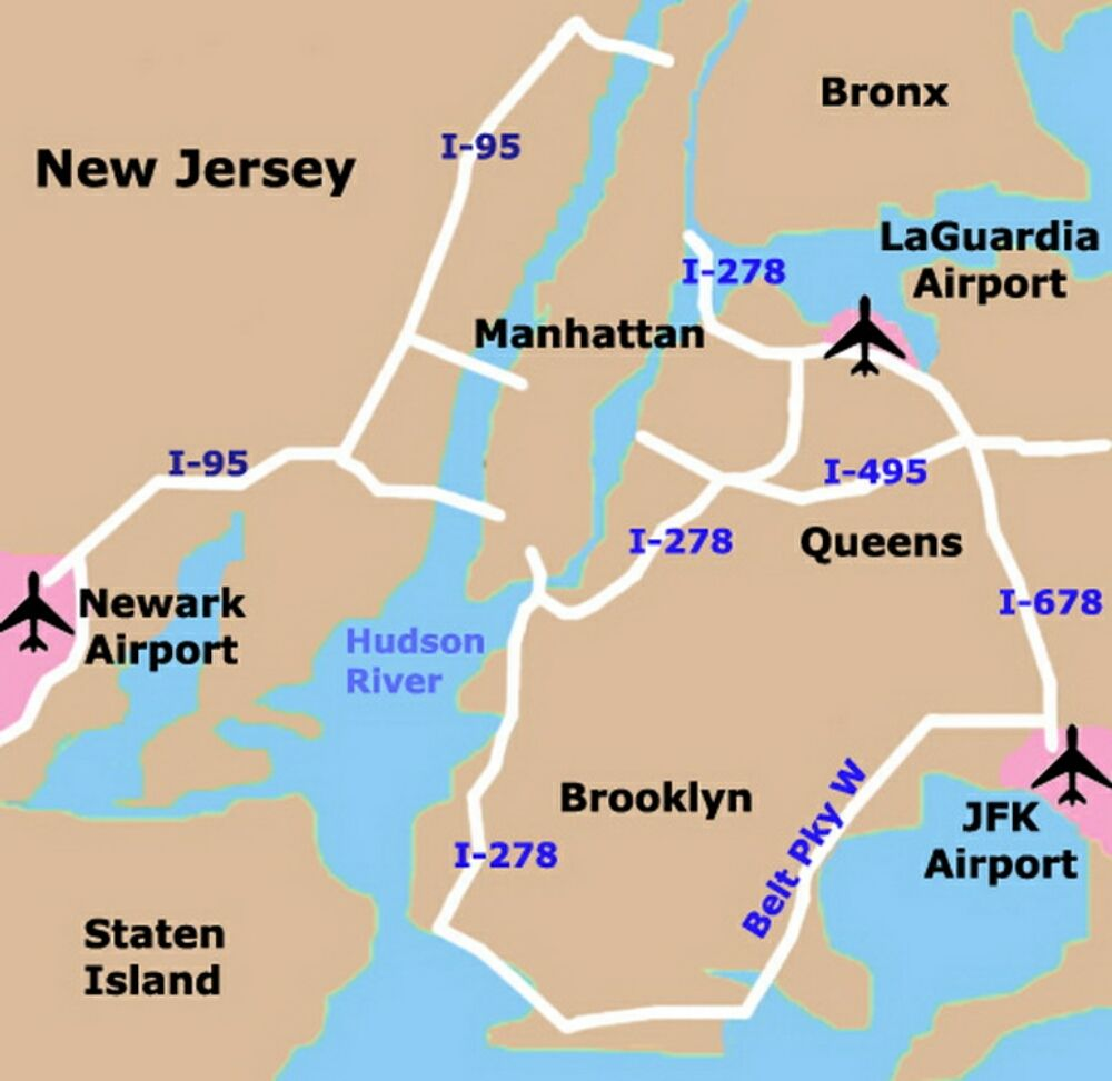 Map Of Nyc Airports New York New York Pinterest