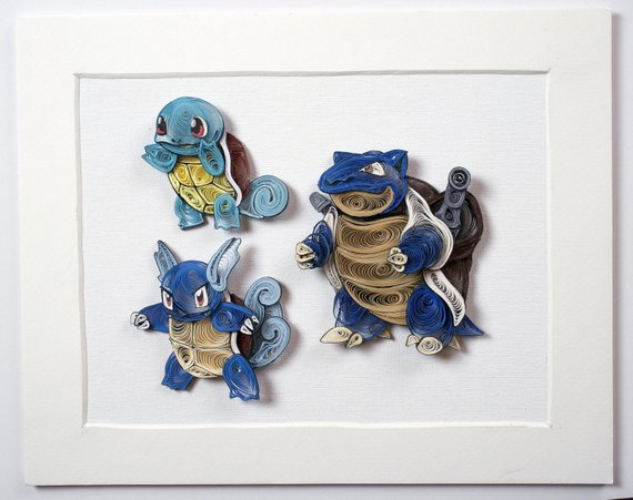 Pokemon Paper Quilling Art Squirtle Wartortle Blastoise Etsy Quilling Art Paper Quilling Quilling