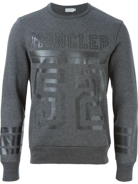73726da61 Shop Moncler logo print sweatshirt in Dell oglio from the world s ...