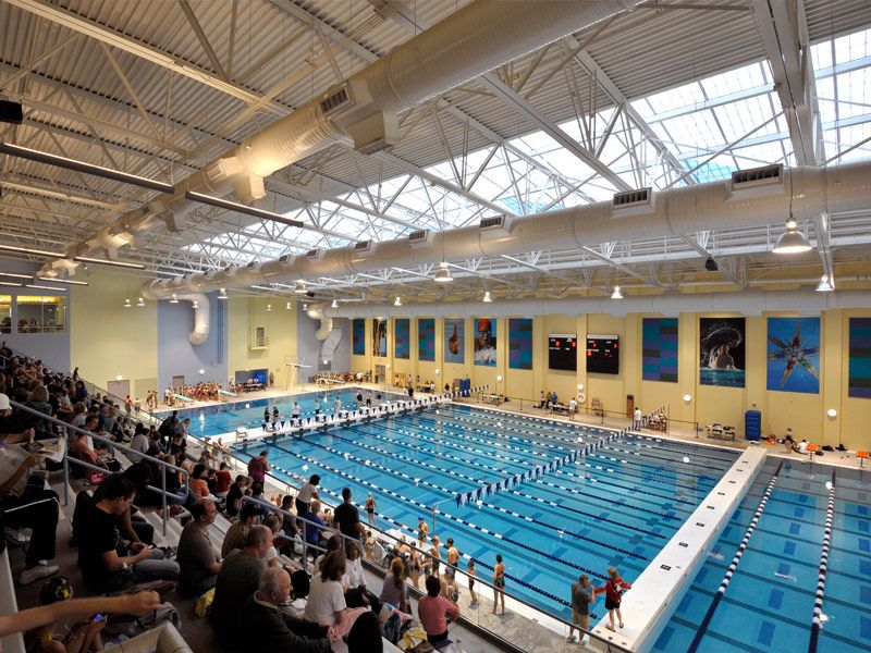 50m competition pool skylit from above veterans memorial for Pool design center