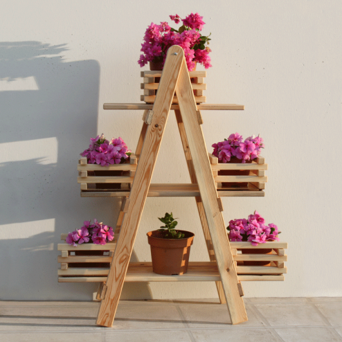 Cajonera kit escalera decorativa de madera de pino b ltico for Construir una escalera de jardin de madera