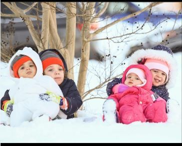 Two sets of twins - biracial kids