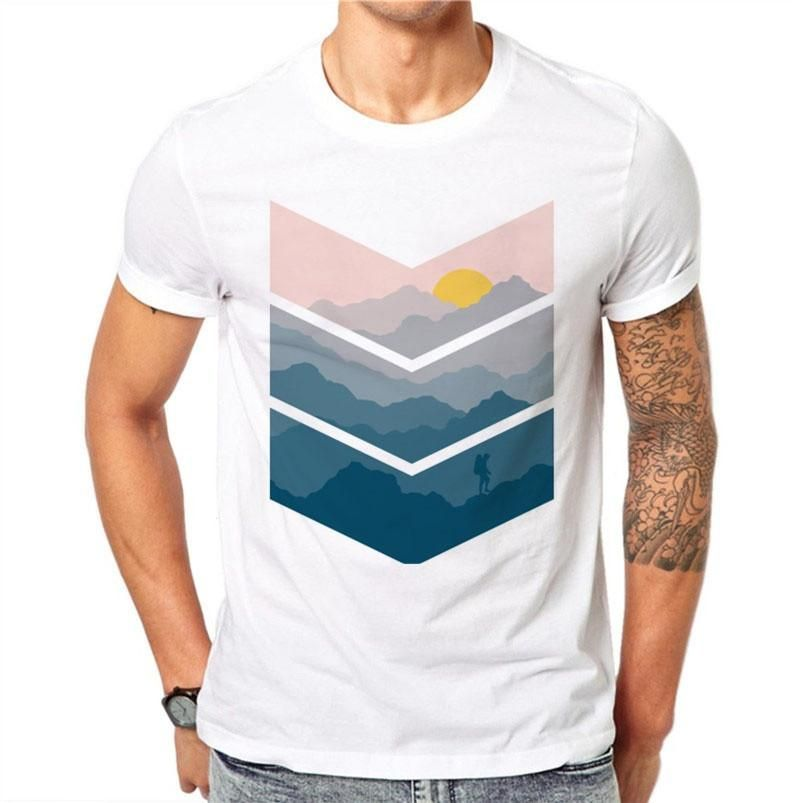 0e00bcea 100% Cotton Sunrise View Design Men T-shirt Printed Male Cool Tops Hipster  Simple Style Short Sleeve Casual Tee T Shirts