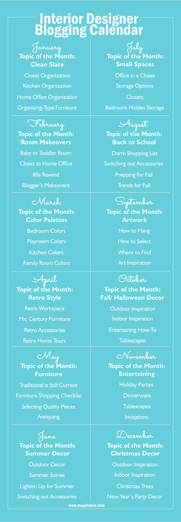 Interior Design Editorial Blogging Calendar Interior Design Business Tips Interior Design