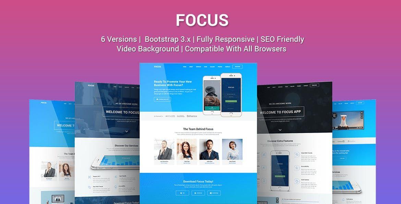 Focus - Multi Purpose App Landing Page Template HTML Landing Page - app landing page template