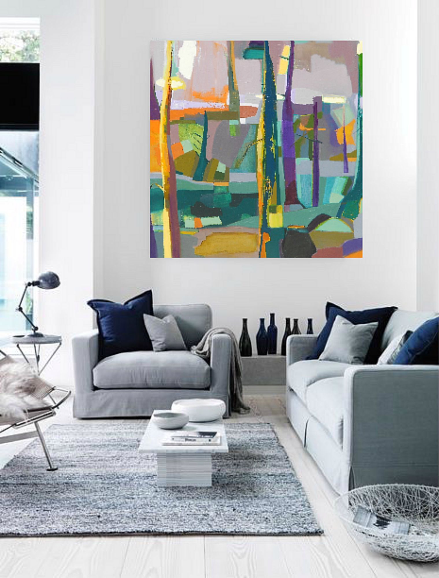 36 x 36 large abstract landscape oil painting by artist - Landscape paintings for living room ...