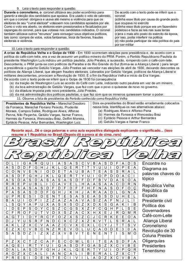 Atividades Republica Velha Topico 16 Primeira Republica