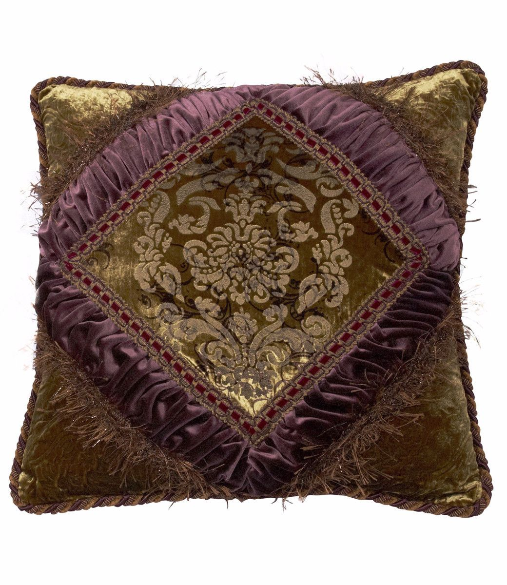 Luxurydecorativepillowsquarepurplegreenvelvetembellished