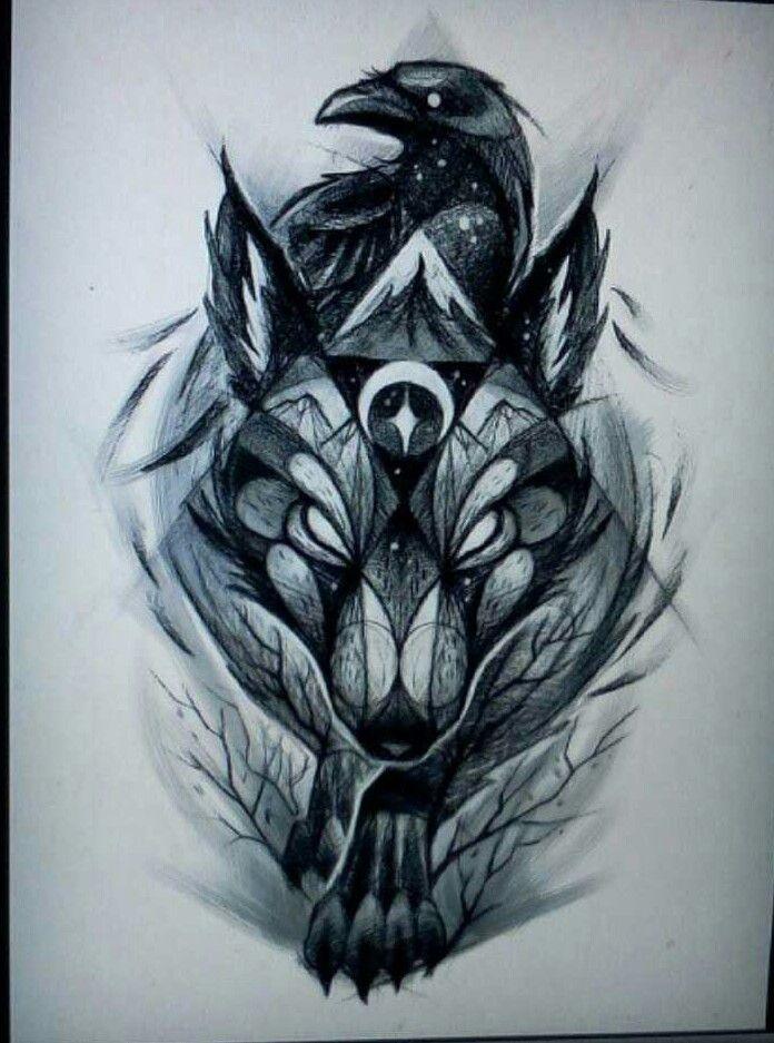 Значение татуировки ворон. Символика тату 11