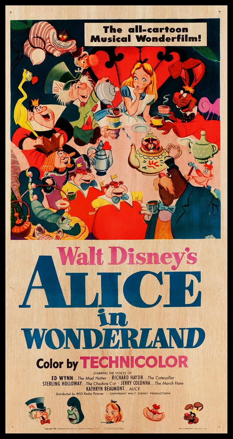 Alice In Wonderland Wood Print Poster Fanart Cinema Movie Posters On Wood For The Walt Disney Movie Lover Extra Large Wall Art Prints In 2020 Poster Prints Alice In Wonderland Film