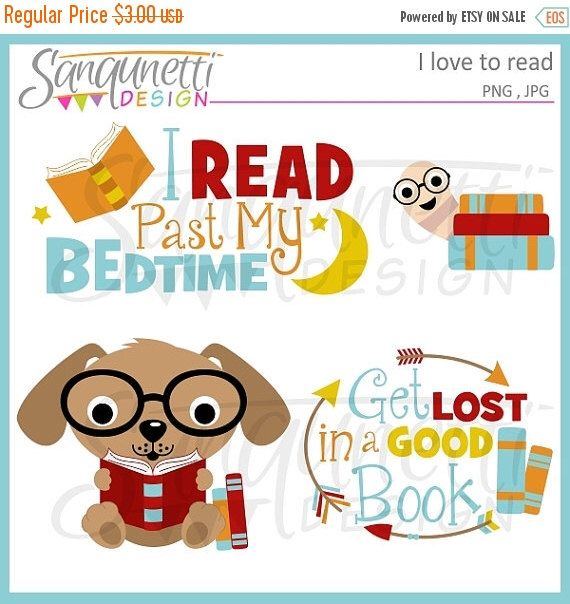 Reading Clipart School And Books Digital Art Instant Etsy Clip Art Past My Bedtime Reading