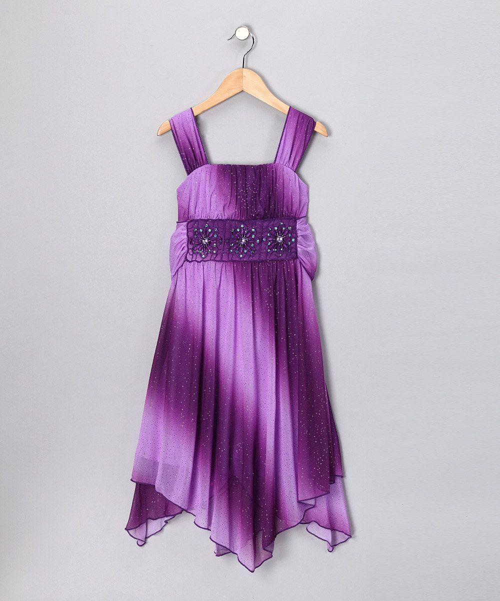 My Michelle Purple Chiffon Handkerchief Dress - Girls