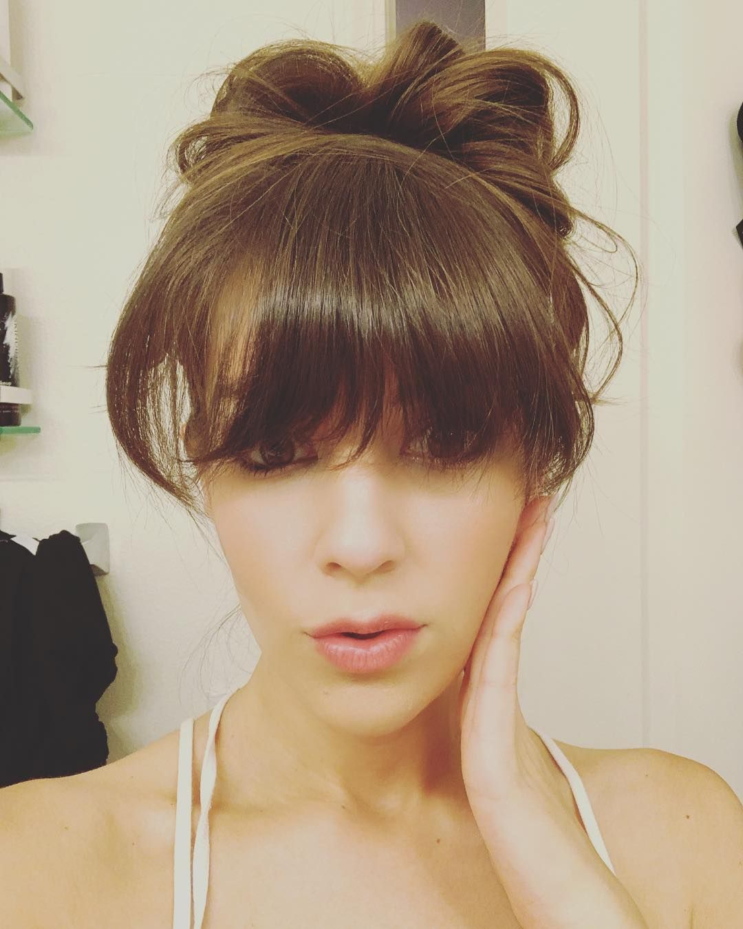 "Photo of @macaroneer on Instagram: ""When your #bangs go full #anime ?. #nerd #messybun #bun #hair #hairstyle #wengirl #wen #selfie #wenbychazdean #annaleefiorino #la…"""
