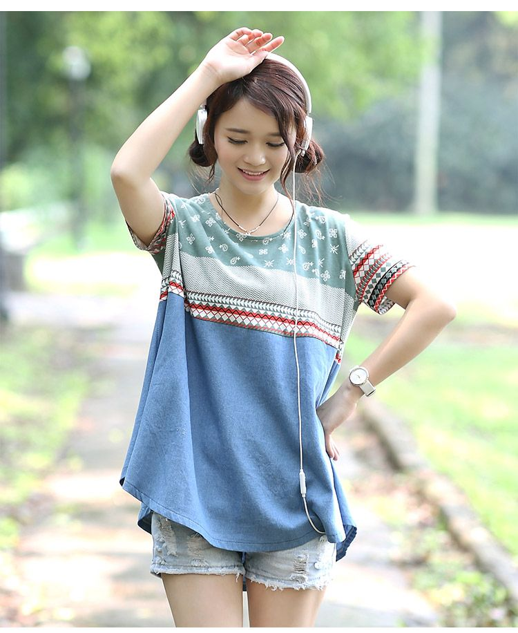 #Skirt Maternity#The New Big Yards Short Sleeve National Wind Hit Color Denim Skirt Maternity As The Picture http://www.clothing-dropship.com/the-new-big-yards-short-sleeve-national-wind-hit-color-denim-skirt-maternity-as-the-picture-g2340373.html