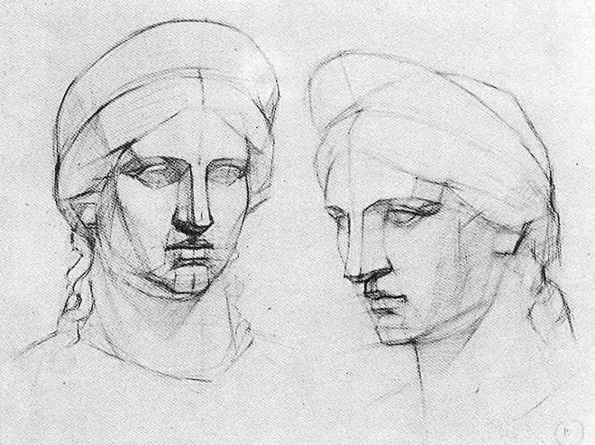 Line Drawing Of Human Face : Russian academic study faces drawings anatomy and