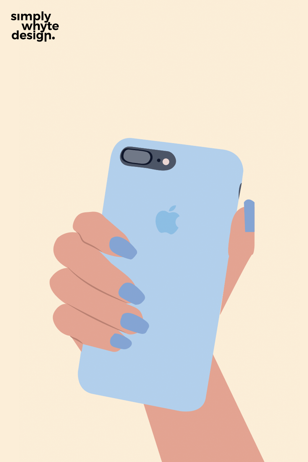 Woman hand holding apple iphone illustration in 2020