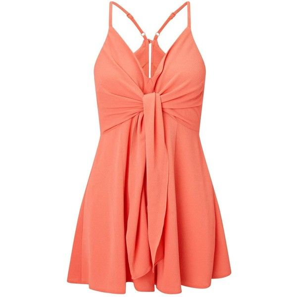0e2577e86ea Miss Selfridge PETITE Tie Front Playsuit ( 68) ❤ liked on Polyvore  featuring jumpsuits