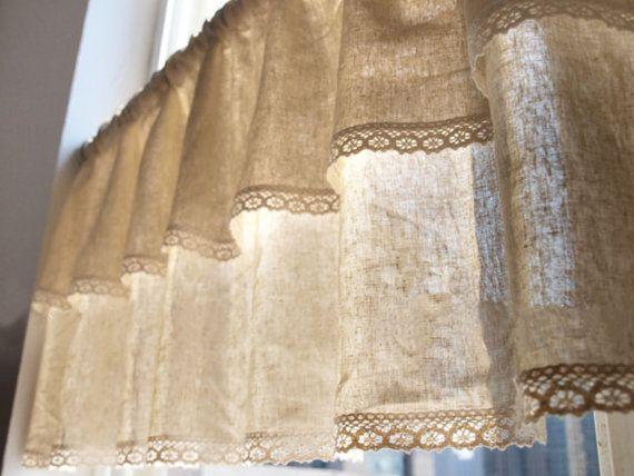 Naturales algod n lino mezcla cafe cortina cenefa por - Cortinas de arpillera ...