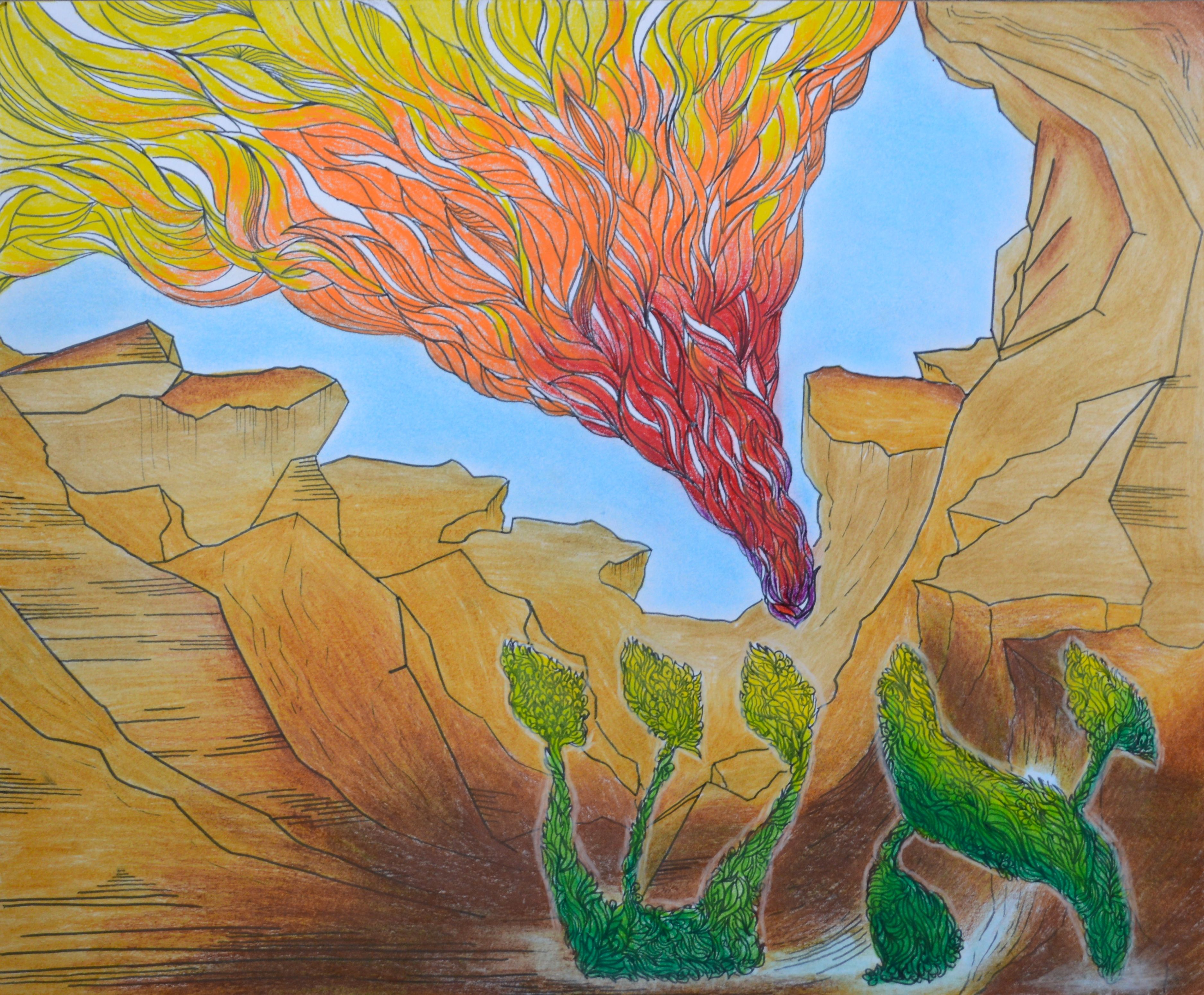 this drawing is a depiction of the burning bush that moses saw in