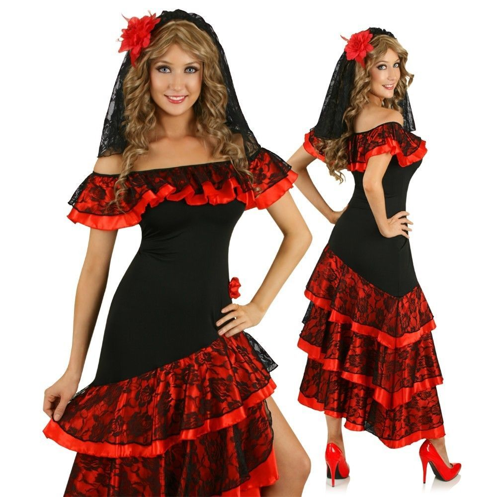Womens Spanish Senorita Dancing Costume Flamenco Dancer Fancy Dress Party  Outfit in Clothing fd3b13055111e