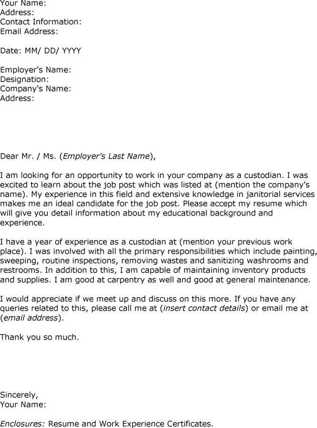 Sample Letter Interest custodian Employment The example shows how - Custodian Job Description