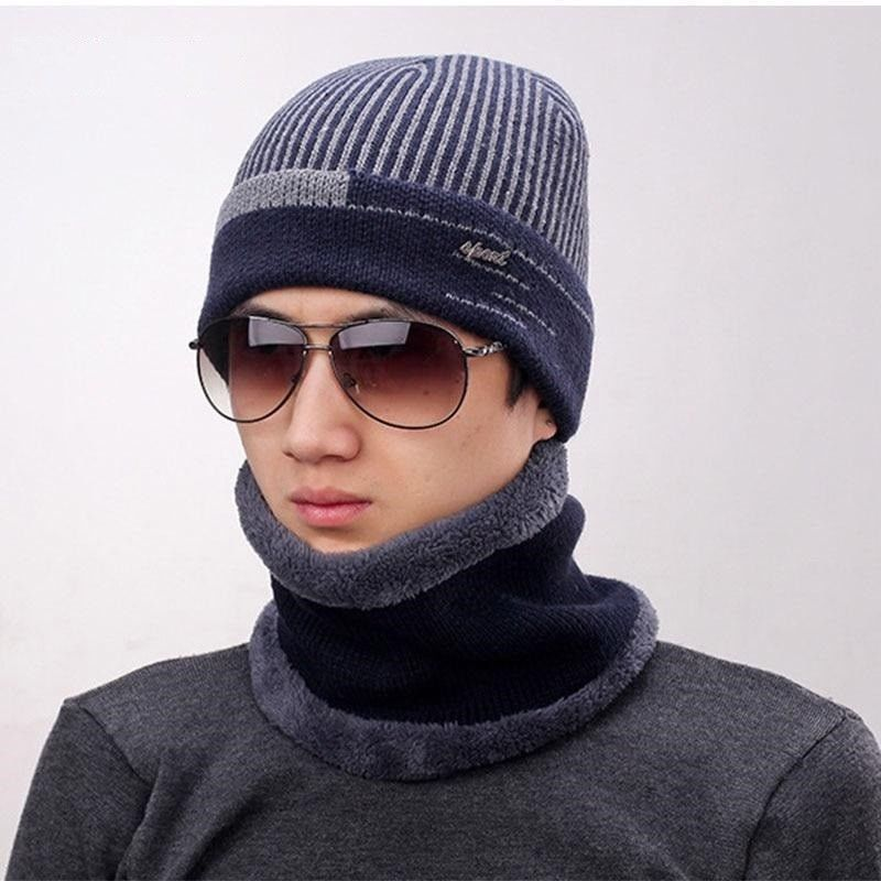 757c55346df Men Winter Pocket Beanie Hat Muffler Scarf Set Thick Velvet Snow Wool 2  Pieces  mensfashion  menswear  winterfashion