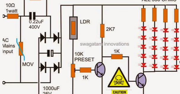 A very compact automatic LED day night light switch circuit has been ...