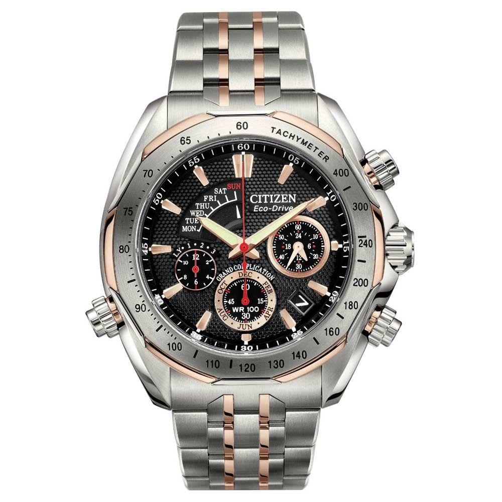 citizen bz0016 50e men s signature grand complication two tone citizen bz0016 50e mens signature grand complication two tone titanium eco drive chrono watch