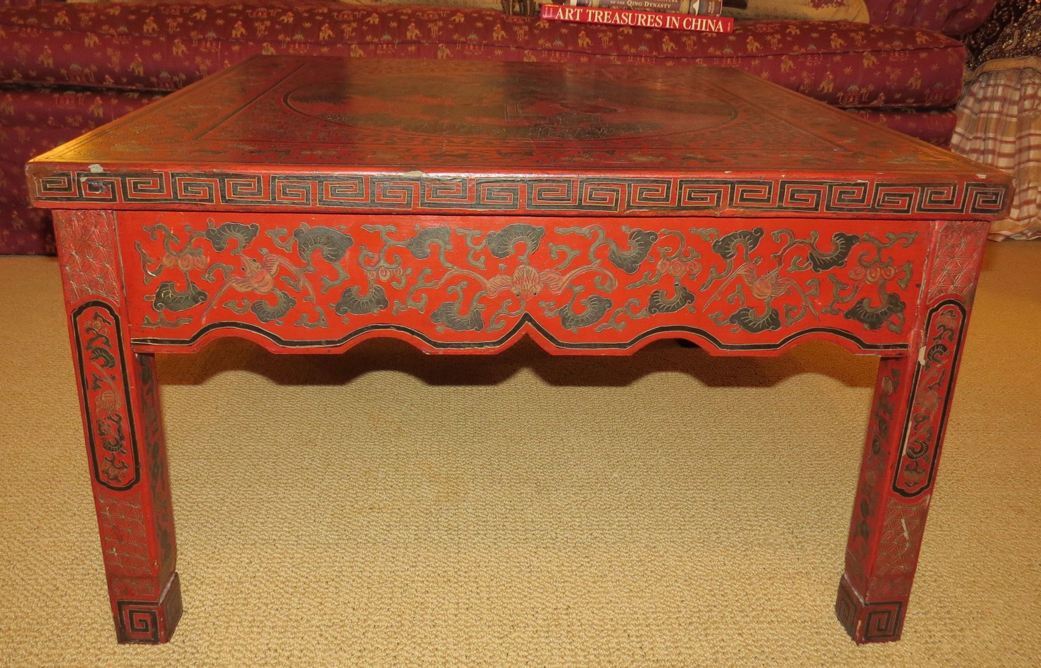 Antique red chinoiserie coffee table red chinoiserie coffee table antique red chinoiserie coffee table red chinoiserie coffee table originally card table height geotapseo Gallery