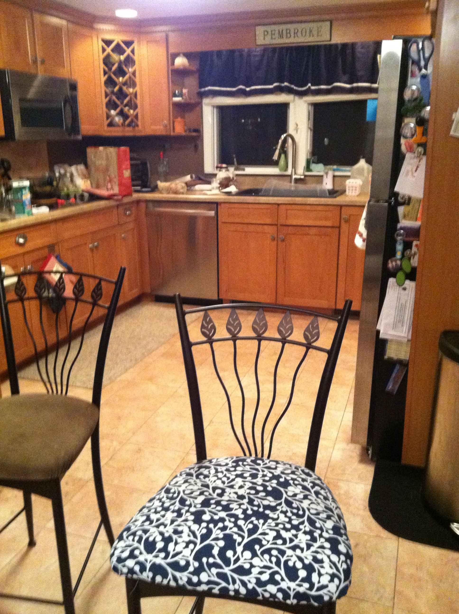 My Before And After Reupholstered Kitchen Stool Seats Kitchen