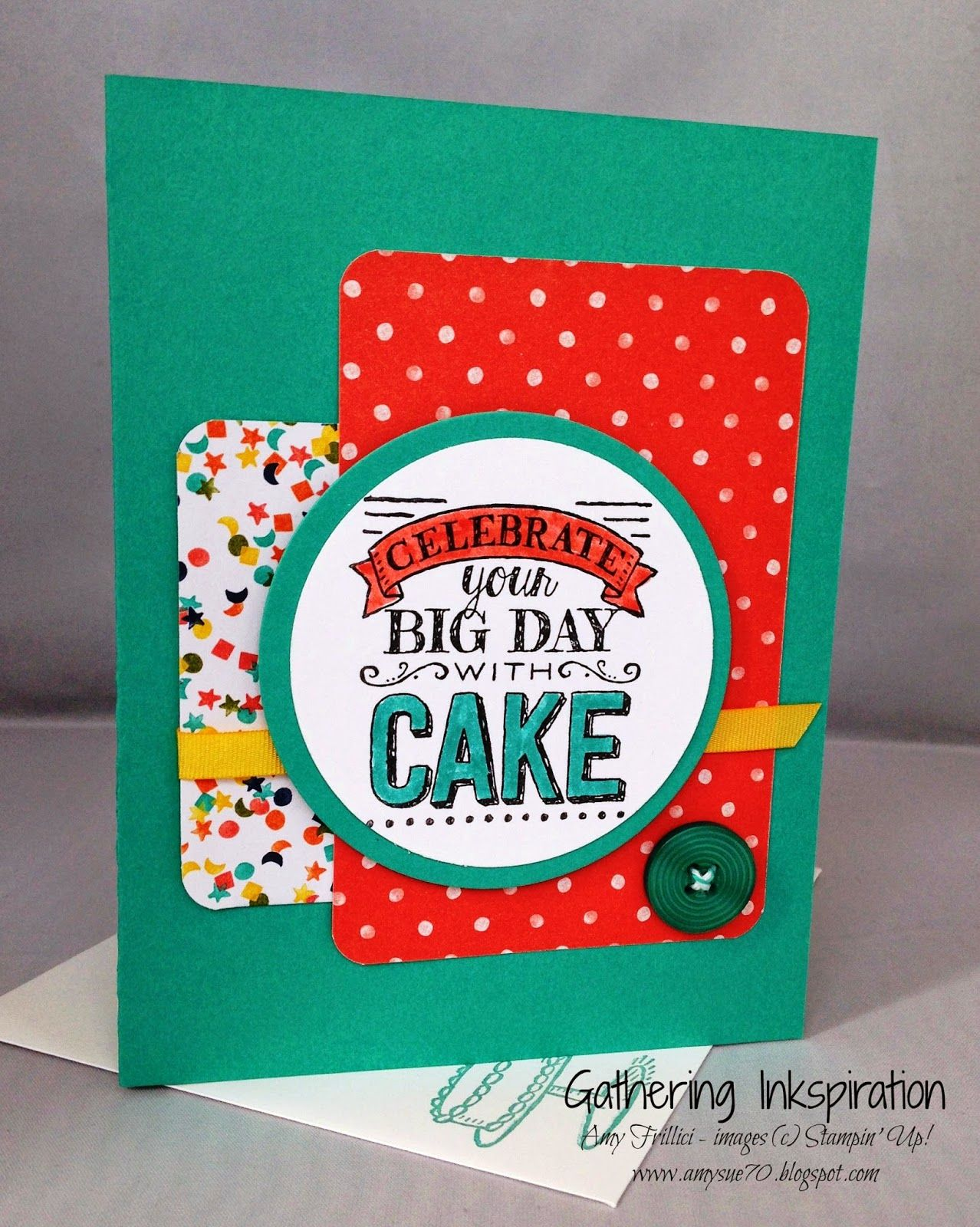 Handmade greeting card birthday celebrate your big day teal and
