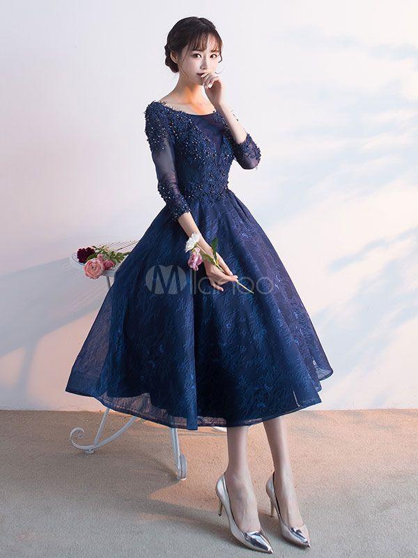 c9a85d512c0 Dark Navy Prom Dress Lace Applique Beading Cocktail Dress Jewel 3 4 Length  Sleeve A Line Tea Length Party Dress