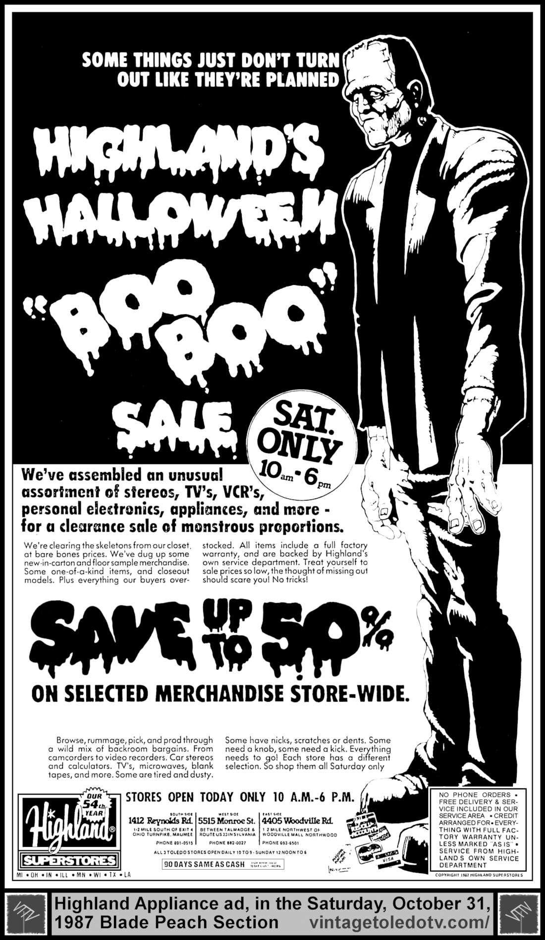 "vintage toledo tv - halloween ads - highland's halloween ""boo boo"