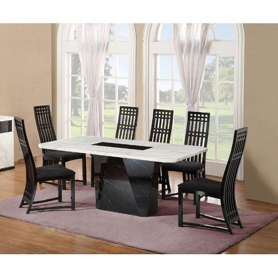 Nouvaro Marble Dining Table With 6 Chairs In Black And White